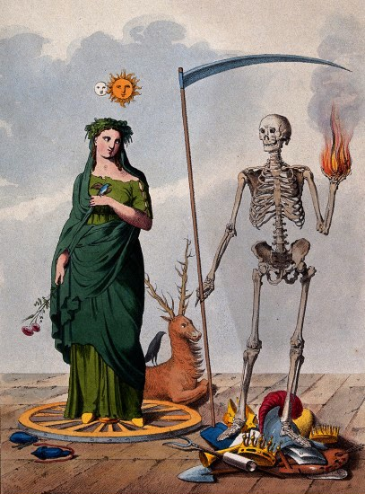 V0042223 Two allegorical figures: a skeleton holding a scythe and a bCredit: Wellcome Library, London. Wellcome Imagesimages@wellcome.ac.ukhttp://images.wellcome.ac.ukTwo allegorical figures: a skeleton holding a scythe and a ball of fire stands next to a female figure. Lithograph.Published:  - Copyrighted work available under Creative Commons by-nc 2.0 UK, see http://images.wellcome.ac.uk/indexplus/page/Prices.html